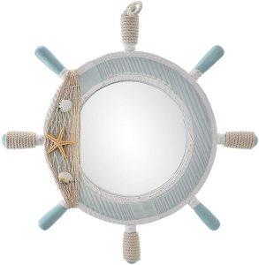 Espejo de baño náutico de Madera para Rueda de Barco