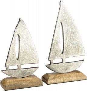 2 Piezas velero de, Barco Decorativo marítimo de Metal con Base de Madera (02 Piezas - Set velero)