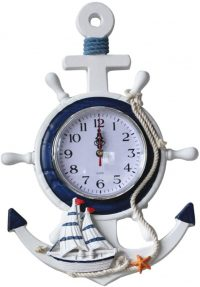 Reloj de pared con diseño mediterráneo con ancla