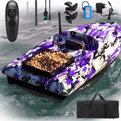 Barco de Cebo cebador inteligente Buscador de Peces Luz Nocturna Inalámbrico control remoto pilas automático pescar
